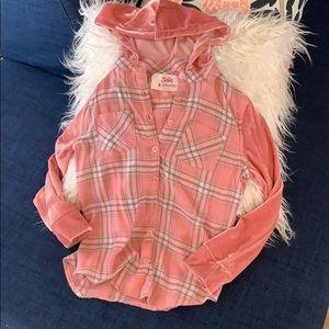 Cute pink plaid hoodie shirt
